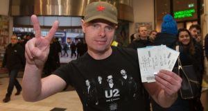 U2 fan Martin Gannon from Ballyfermot after getting his tickets at the ticketmaster branch in St. Stephens Green Shopping Centre, Dublin. Photo: Gareth Chaney Collins