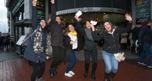 U2 fans  Cintia Marcomini, Luz Pereira, Tamara Thaise, Sabrini Resende from  & Michelle Franca from Smithfield after getting their tickets at the ticketmaster branch in St. Stephens Green Shopping Centre, Dublin. Photograph: Gareth Chaney Collins