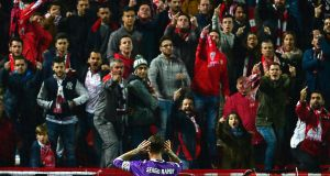 Real Madrid's Sergio Ramos celebrates in front of the Sevilla fans. Photo: Cristina Quicler/Getty Images