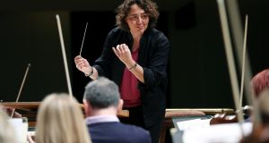 French conductor Nathalie Stutzmann, newly announced principal guest conductor of the RTÉ National Symphony Orchestra, rehearses with the orchestra at the National Concert Hall. Photograph: Maxwell Photography