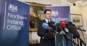 Northern Ireland secretary James Brokenshire speaking in Stormont House in  Belfast where he called a snap Stormont Assembly election for March 2nd. Photograph: Niall Carson/PA Wire.