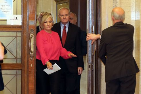Former Deputy First Minister, Martin McGuinness leaves the Assembly chamber after Sinn Fein  passed up its last chance to nominate a new Deputy First Minister in Belfast.  Photograph: Paul Faith / AFP