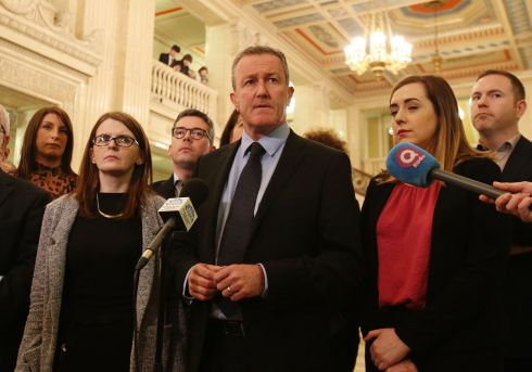 Sinn Fein's Conor Murphy (centre) holds a press conference in the Great Hall of Stormont in Belfast. Photograph: Niall Carson/PA