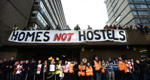 The Home Sweet Home group left Apollo House on Thursday 12th January in compliance with a High Court order. Photograph: Dara Mac Dónaill / The Irish Times