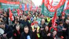 A file image of trade union groups protesting in Dublin over austerity measures. The Government has decided to bring forward a €1,000 pay rise for public service staff but unions say anomalies are yet to be addressed. Photographer: Dara Mac Dónaill/ The Irish Times.