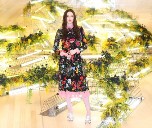 Maria Traynor wears Gucci a dress (€3,500) at the BT show.  Photograph: Leon Farrell/Photocall Ireland