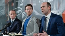 Séamus Hickey (centre) with new Gaelic Players Association chief executive Dermot Earley (right) at a press conference yesterday. Hickey is the new chairman while  Seán Murphy is a member of the selection committee. Photograph: Sportsfile