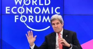 US secretary of state John Kerry Speaking at the World Economic Forum in Davos where he defended Obama's economic record. Photograph: Fabrice Coffrini/AFP/Getty Images