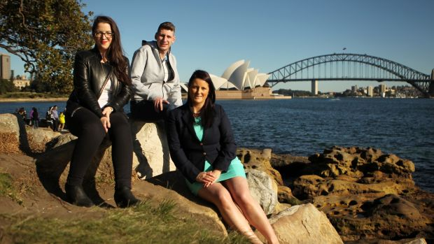 Carol Friel, Gavin Grace and Stephanie Lyons have all moved from Ireland and are now living in Sydney, Australia. Photograph: Jacky Ghossein