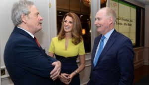 Declan Dunne, president of the IUSA, with speakers Gina London  and Tim O'Connor, at the association's annual conference and dinner in Dublin. Photograph: Dara Mac Dónaill/The Irish Times