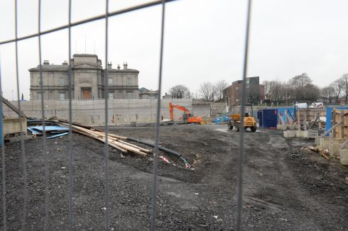 Work in Broadstone, one of the stops on the new Luas line.  Photograph: Dara Mac Donaill / The Irish Times