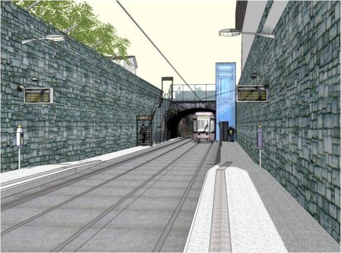 Luas Cross City - computer generated image of Phibsborough station