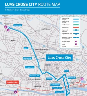 A map showing the new Luas route north of Dublin city centre
