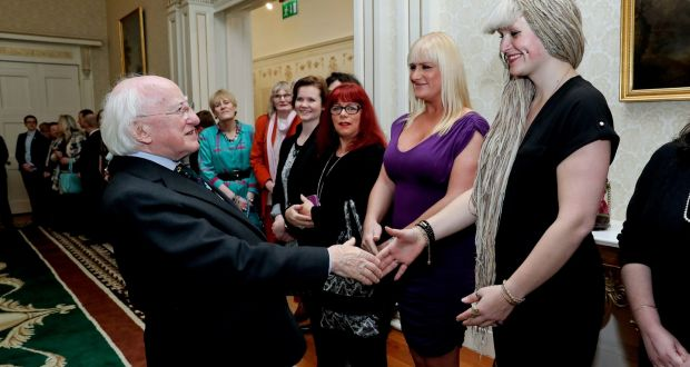 President Michael D Higgins welcomes Nicole Winter and, left, Tiffany Fitzgerald Brosnan of Transgender Equality Network Ireland to Áras an Uachtaráin. Photograph: Maxwells