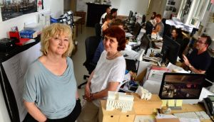 Yvonne Farrell and Shelly McNamara, of Grafton Architects, at their office in Dublin. Photograph: Dara Mac Dónaill
