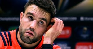 Conor Murray at a Munster press conference at UL on Wednesday. Photograph: Tommy Dickson/Inpho