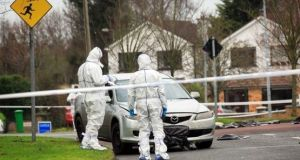 The silver Mazda car found near the scene of the murder in Lucan, Co Dublin. Photograph: Collins