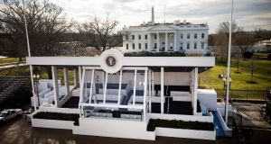 The presidential reviewing stand outside the White House awaits the inauguration of president-elect Donald Trump in Washington DC on Friday. Photograph: Jim Lo Scalzo/EPA