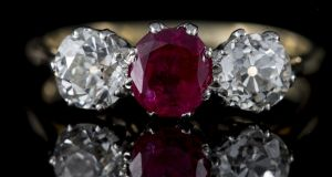 A Burmese ruby and diamond ring to be auctioned at O'Reilly's, with an estimate of €12,500-€14,500