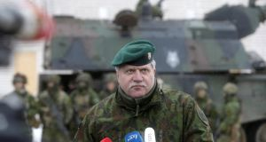 Chief of Defence of Lithuania Jonas Vytautas Zukas: the fence is expected to stretch for130km along the border with Kaliningrad.  Photograph: Ints Kalnins/Reuters