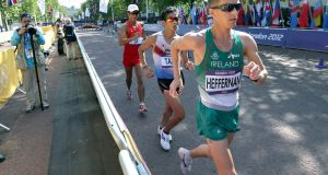Robert Heffernan during the 50km walk in the 2012 Olympic Games in London. He was eventually upgraded to a bronze medal. Photograph: Morgan Treacy/Inpho