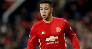 Lyon have agreed a deal to buy Manchester United forward Memphis Depay. Photograph:  Martin Rickett/PA Wire