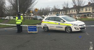 Gardai at the scene in Lucan where a man was murdered following an earlier dispute in Ronanstown where shots were fired. Photograph: Dan Griffin / The Irish Times