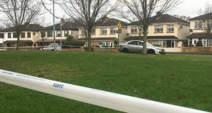 The silver Mazda car that was found near the scene of the murder in Lucan, west Dublin, on Wednesday. Photograph: Dan Griffin