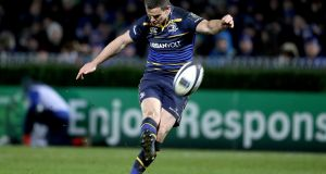 Jonathan Sexton kicks at goal against Montpellier, a game in which he reached a landmark in Champions Cup rugby. Photograph: Dan Sheridan/inpho
