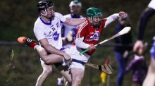 Cork's Daniel Kearney battles with  Conor Gleeson of Waterford during the  Munster Senior Hurling League match in  Mallow. Photograph:Tommy Dickson/Inpho