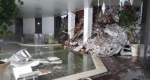 A video grab shows the interior of the hotel  after it was hit by the avalanche. Photograph: EPA