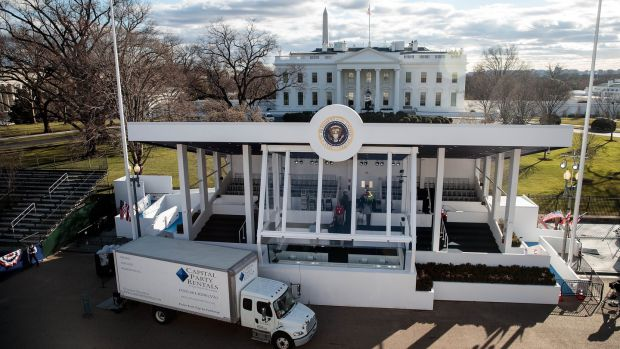 Preparations continue around near the White House for the the inaugural parade on Friday. Photograph: Drew Angerer/Getty