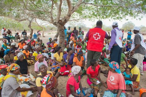 Women in the Funhalouro district of Imhambane province in Mozambique await a food distribution by the Mozambican Red Cross. In 2016 Mozambique experienced its worst drought for three decades, leaving large sections of the population facing food insecurity.