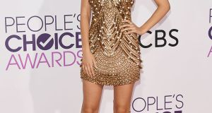 Actress Victoria Justice wears an embellished mini at the People's Choice Awards 2017.  Photograph: Getty Images