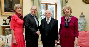 US ambassador to Ireland Kevin O' Malley and his wife, Dena, with President Michael D Higgins and his wife, Sabina, in Áras an Uachtaráin on Monday. Photograph:  Maxwell