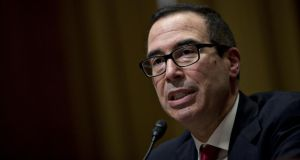 Steven Mnuchin at his US Senate finance committee confirmation hearing on Thursday. Photograph: Bloomberg