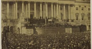 A March 4th, 1861, photograph of the first inauguration of Abraham Lincoln. Believed taken by Scottish-American photographer Alexander Gardner.