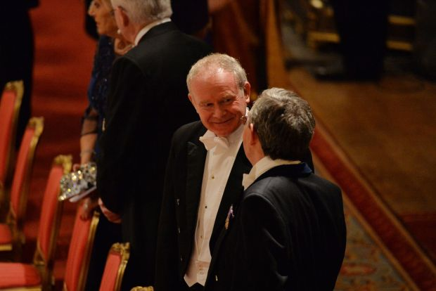 Martin McGuinness, Deputy First Minister Northern Ireland , at the banquet held at Windsor Castle during the state visit of President Higgins, 2014. 