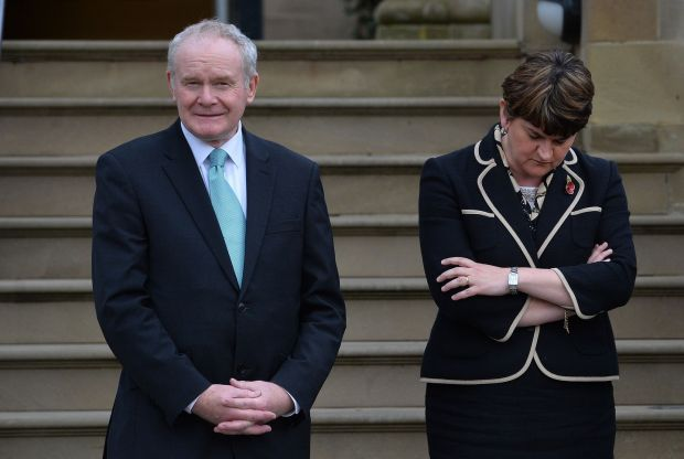 First Minister Arlene Foster and Deputy First minister Martin McGuinness wait to greet the President of the Republic of Colombia, Juan Manuel Santos Caldern at Stormont Castle during a visit to Northern Ireland as part of his State visit to the UK. Photograph: Colm Lenaghan/Pacemaker