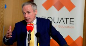 "Minister for Education Richard Bruton:  has announced a ""consultation process"" on admissions to religious-run schools at an event run by a lobby group called Equate. Photograph: Cyril Byrne"