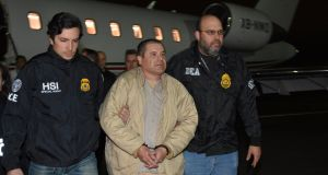 "Mexico's top drug lord Joaquin ""El Chapo"" Guzman  arrives at Long Island MacArthur airport in New York, US  after his extradition from Mexico. Photograph:  Reuters"