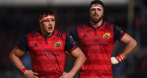 CJ Stander  and Jean Kleyn during  Munster's win over Glasgow Warriors  at Scotstoun Stadium in Glasgow. Photo:  Stephen McCarthy/Sportsfile via Getty Images