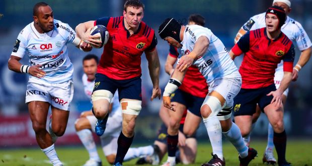 Munsters Tommy Odonnell Above In Action Against Racing  At Stade Yves