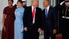 The Obamas welcome the Trumps to the White House