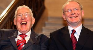 A file image of former first minister Ian Paisley (left) and outgoing deputy first Minister Martin McGuinness. Ian Paisley jnr said lessons needed to be learned.