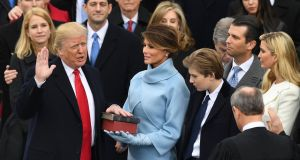 US President-elect Donald Trump is sworn in as President.  Photograph: Mark Ralston / AFP