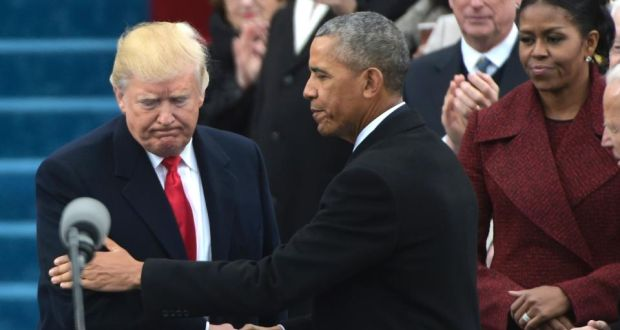 Trump a blank slate unmarked by conviction or policy know how barack obama greets donald trump as he arrives on the platform at the us capitol in m4hsunfo