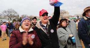 Supporters of Donald Trump on the National Mall in Washington DC for his inauguration as 45th president of the United States. Photograph: Spencer Platt/Getty Images