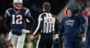 New England Patriots quarterback Tom Brady  and head coach Bill Belichick will pit their wits against the Pittsburgh Steelers  in their bid for the AFC championship title. Photograph: CJ Gunther/EPA