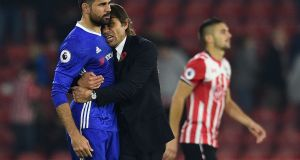 Chelsea's head coach Antonio Conte says striker Diego Costa does not want a move to China. Photograph: Getty.